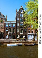 家, 古い, アムステルダム