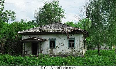 家, 古い, ウクライナ, 捨てられた, 1(人・つ), villages., scenery.