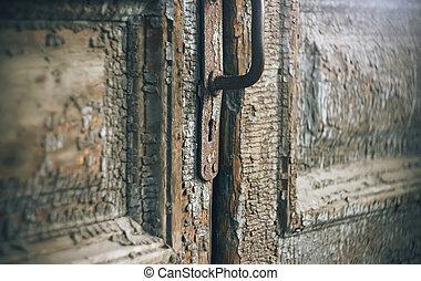 家, 古い, ドア, 捨てられた, 忘れられた