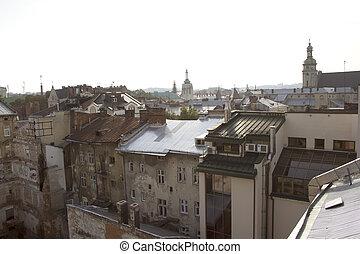 家, 古い, 中心, lviv