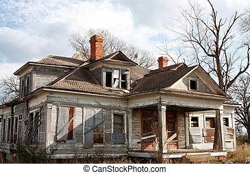 家, 古い, 捨てられた