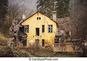 家, 古い, 森林, 台無しにされる