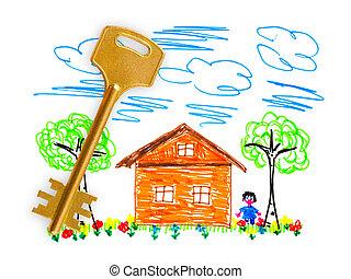 家, 図画, キー