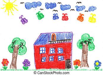 家, 図画, 子供