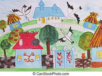 家, 図画, 家族, 子供