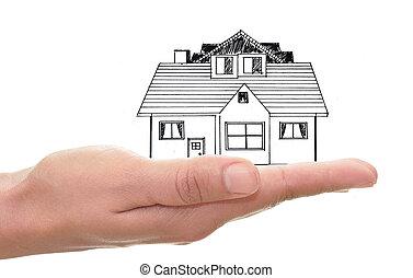 家, 図画, 手を持つ