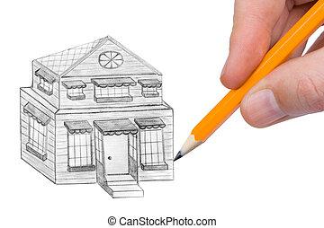 家, 図画, 手