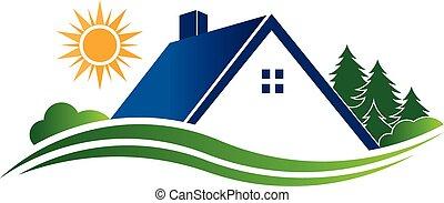 家, 国, 逃走, logo., ベクトル, 写実的な 設計