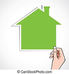 家, 图标, 绿色, 手