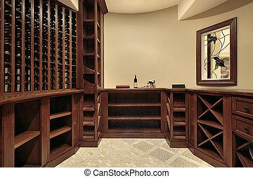 家, 地下室, 贅沢, ワイン