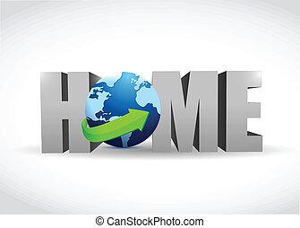 家, 地球, デザイン, イラスト