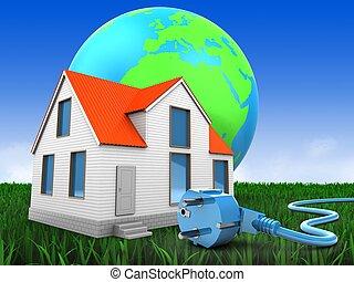 家, 地球, 3d, 地球