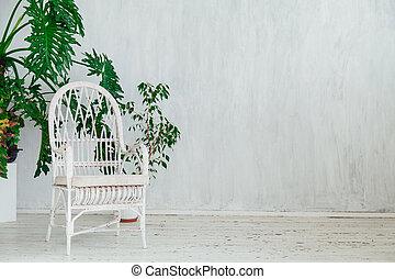 家, 型, 植物, 白, 内部, 肘掛け椅子, 灰色, 部屋
