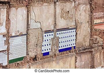 家, 壁, 古い, 台無しにされる