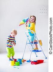 家, 壁, 絵, 子供, 改造しなさい