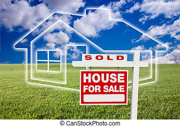 家, 売られた, 雲, 上に, 印