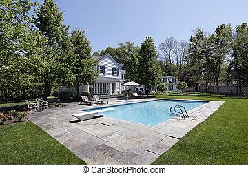 家, 外, 贅沢, プール, 水泳