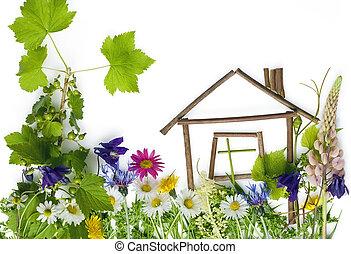 家, 夢, 甘い, 緑