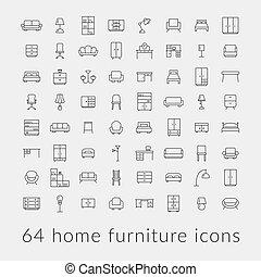 家, 大きい, 家具, コレクション, アイコン