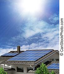 家, 太陽, パネル, 屋根