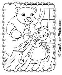 家, 女の子, 着色 本, 熊
