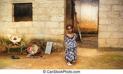 家, 女の子, 黒, アフリカ