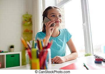 家, 女の子, smartphone, 呼出し