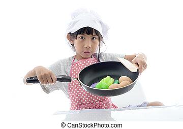 家, 女孩, 烹調, 亞洲人