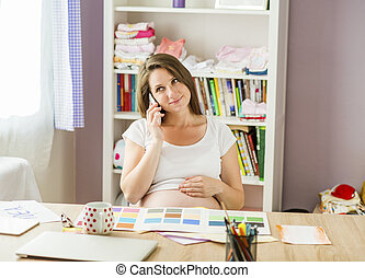 家, 女, 仕事, 妊娠した