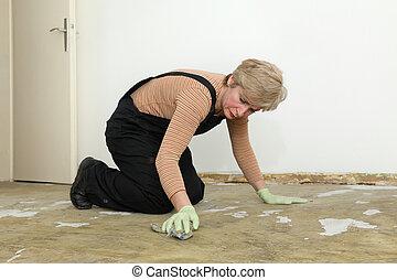 家, 女, 仕事, 清掃, 床