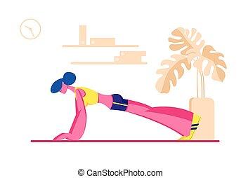 家, 女, 健康診断, 漫画, sport., ヨガ, ∥あるいは∥, 良い状態, 特徴, ベクトル, 板, エアロビクス, 完全, 平ら, かみ合いなさい, 感じ, 女性, 練習, 健康, イラスト, フィットネス, 訓練, 生活