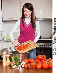 家, 女, 料理, トマト