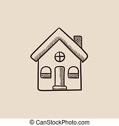 家, 孤立した, スケッチ, icon.