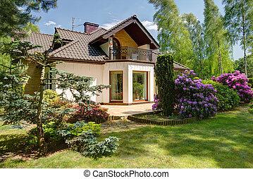 家, 孤立した, 庭, 美しさ
