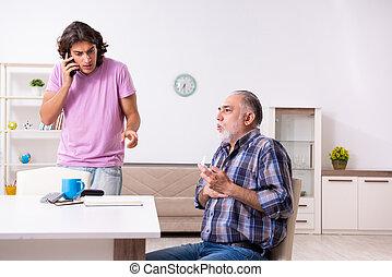 家, 学生, 古い, 彼の, おじいさん, 若い