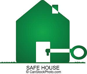 家, 安全である, -, ロゴ