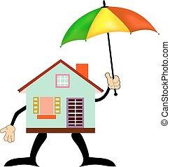 家, 安全である, 隔離された, -, 概念, アイコン, 傘, 家, 白