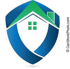 家, 実質, ロゴ, 保護, 緑, 財産