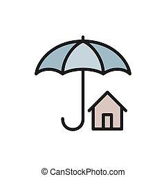 家, 実質, 平らなライン, 保護, 傘, 財産, 色, icon., 保険