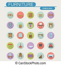 家, 家具, セット, アイコン