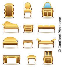 家, 家具, セット, 古典である, アイコン