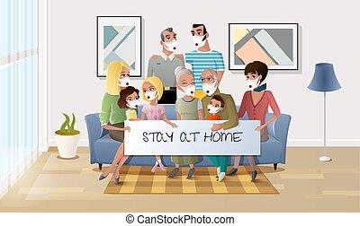 家, 家族, quarantined, 滞在, の間, pandemic