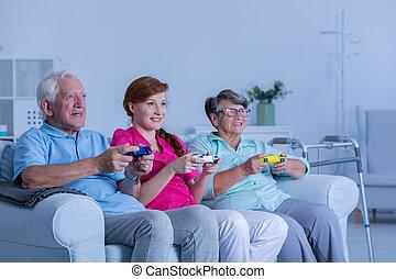 家, 居住者, ゲーム, 看護, 遊び