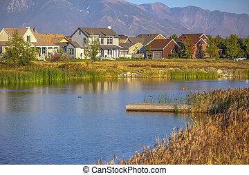 家, 山, 木 艙板, 湖, 看法