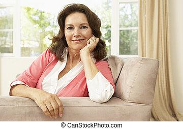 家, 年長の 女性, 椅子, 弛緩