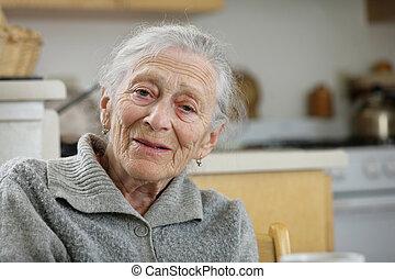 家, 年長の 女性, 肖像画