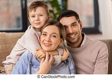 家, 幸せな家族, 肖像画