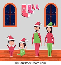 家, 幸せな クリスマス, 家族, 祝う