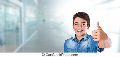 家, 幸せ, オーケー, 男の子, 微笑, ∥あるいは∥, 学校, 印