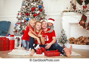 家, 幸せ, 背景, 家族, 伝統的である, クリスマス, 肖像画, 木, 装飾, 休日, 贈り物